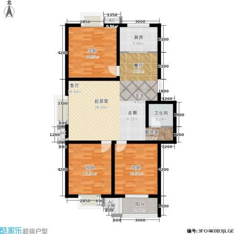 国际幸福城3室0厅1卫1厨115.00㎡户型图