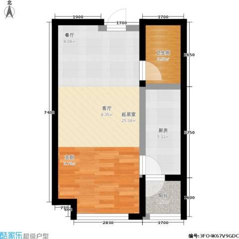 龙湖紫都城1卫1厨48.00㎡户型图