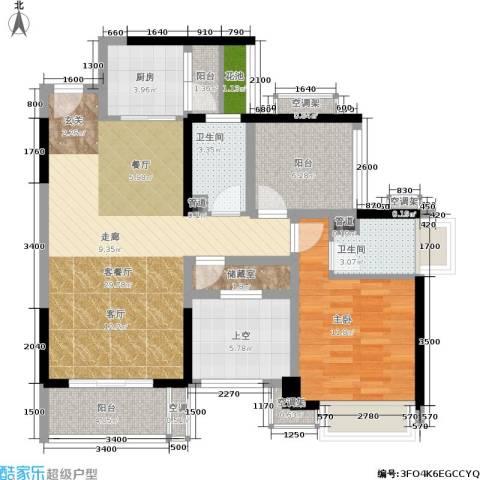 星河盛世1室1厅2卫1厨89.00㎡户型图