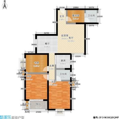 美丽的院子3室0厅2卫1厨124.00㎡户型图