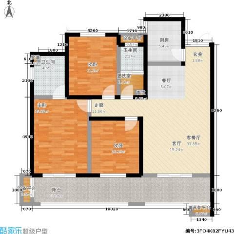 长泰豪园3室1厅2卫1厨153.00㎡户型图