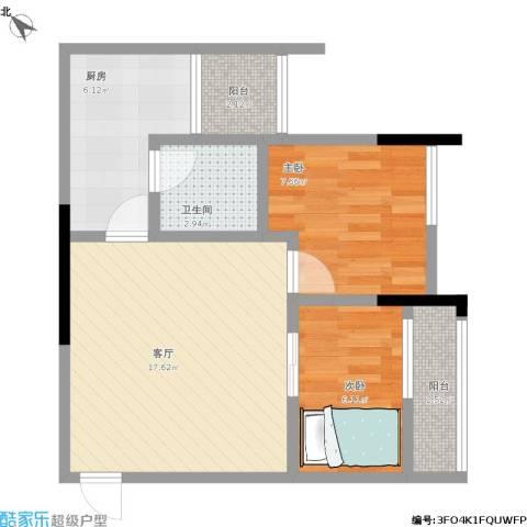 融创伊顿濠庭2室1厅1卫1厨65.00㎡户型图