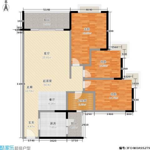 皓月花园3室0厅1卫1厨133.00㎡户型图