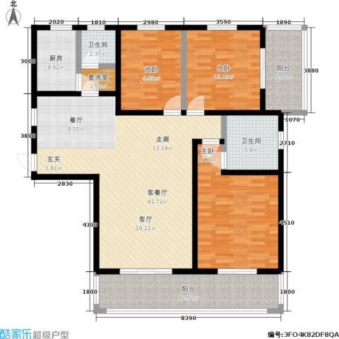 长泰豪园3室1厅2卫1厨165.00㎡户型图