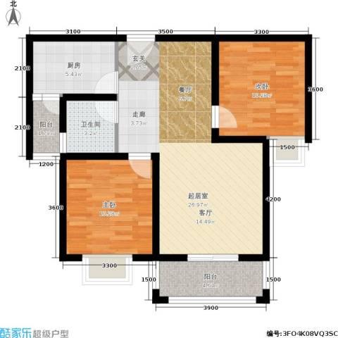 国际幸福城2室0厅1卫1厨88.00㎡户型图