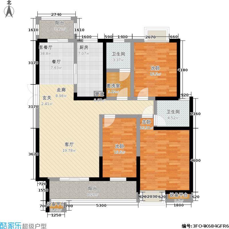 威尔士春天139.92㎡九栋9D户型3室2厅2卫