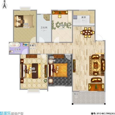 金地华城三期4室1厅2卫1厨166.00㎡户型图