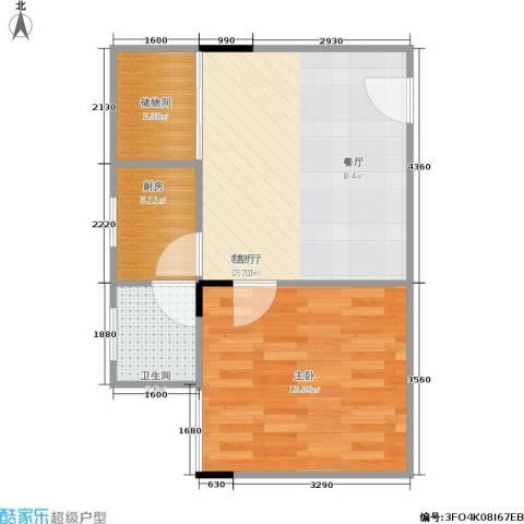 潜龙花园北区1室1厅1卫1厨41.00㎡户型图