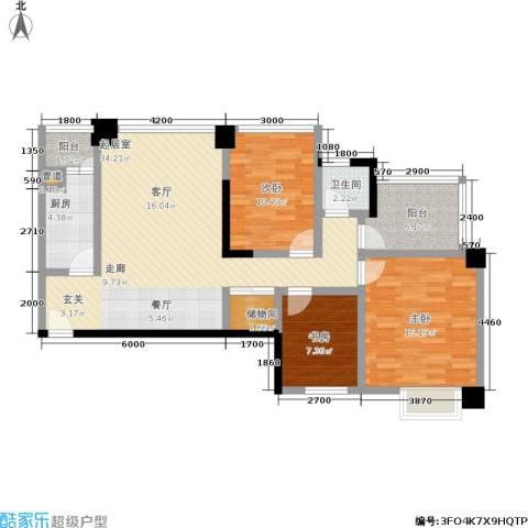 星蓝湾3室0厅1卫1厨116.00㎡户型图