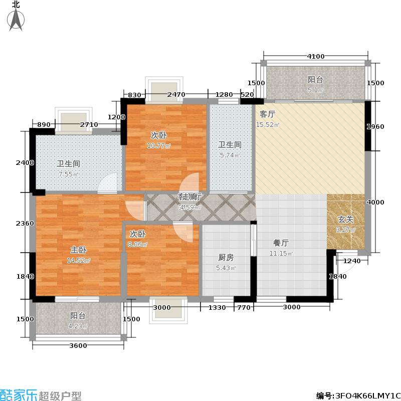 涉外国际公馆119.00㎡E2户型3室2厅2卫户型3室2厅2卫