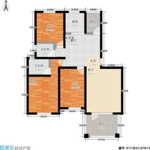 共和世家3室0厅2卫1厨123.00㎡户型图