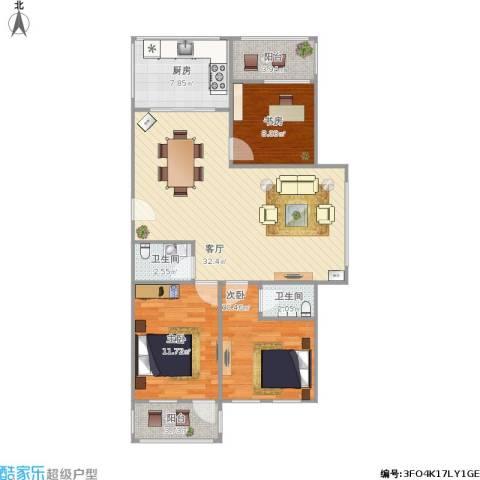 玉函新南区3室1厅2卫1厨112.00㎡户型图