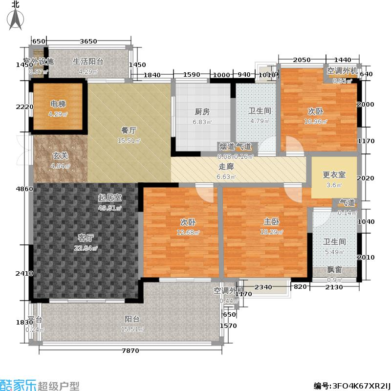 归心苑145.00㎡归心苑户型图B户型三房两厅两卫(2/4张)户型3室2厅2卫
