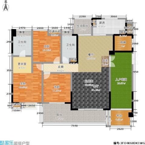 归心苑3室0厅2卫1厨160.00㎡户型图