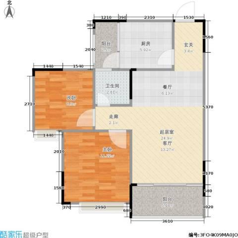 缤纷时代2室0厅1卫1厨65.97㎡户型图