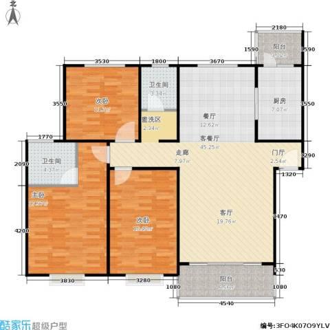滨江美寓3室1厅2卫1厨130.00㎡户型图