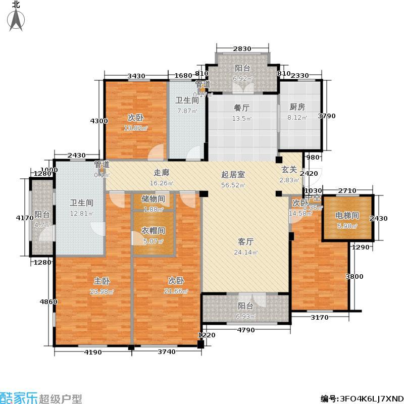 海尔绿城全运村206.00㎡玫瑰园E户型 四室两厅两卫户型4室2厅2卫