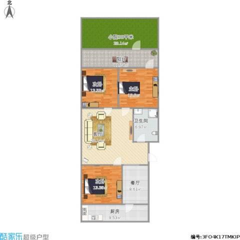 英雄山路单位宿舍3室2厅1卫1厨167.00㎡户型图
