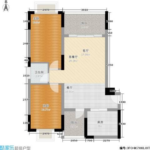 山水花都2室1厅1卫1厨98.00㎡户型图