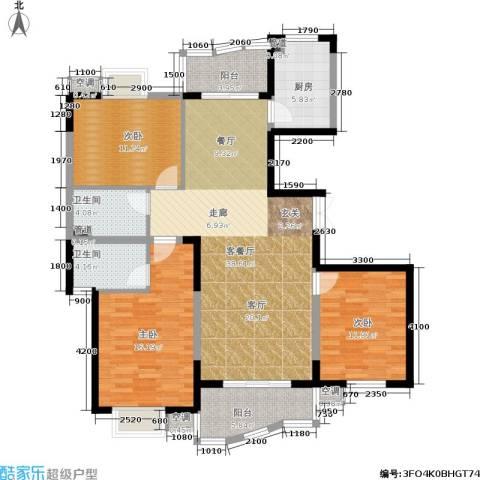 天元公寓3室1厅2卫1厨123.00㎡户型图