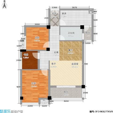 山水庭院3室0厅1卫1厨89.00㎡户型图