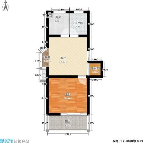 山水庭院1室1厅1卫1厨48.00㎡户型图