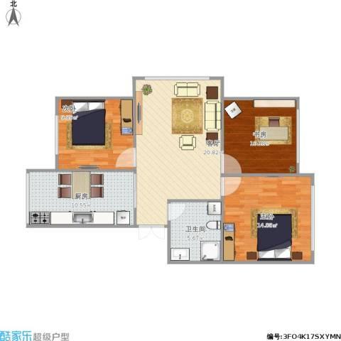 皇都郦景三期3室1厅1卫1厨95.00㎡户型图