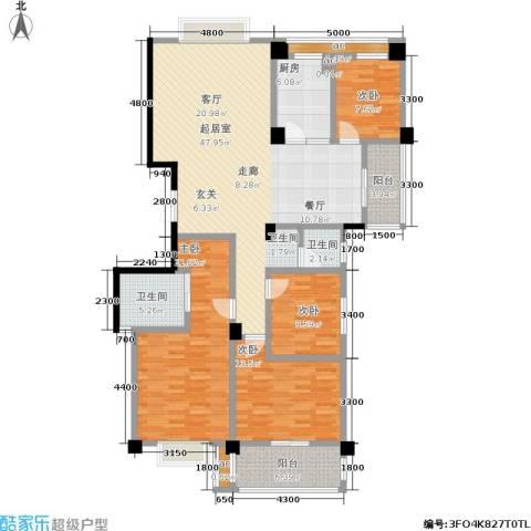 中江国际花城4室0厅2卫1厨148.00㎡户型图