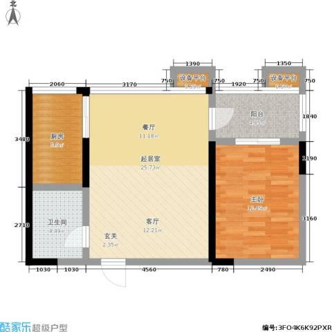 爱菊佳园1室0厅1卫1厨64.00㎡户型图