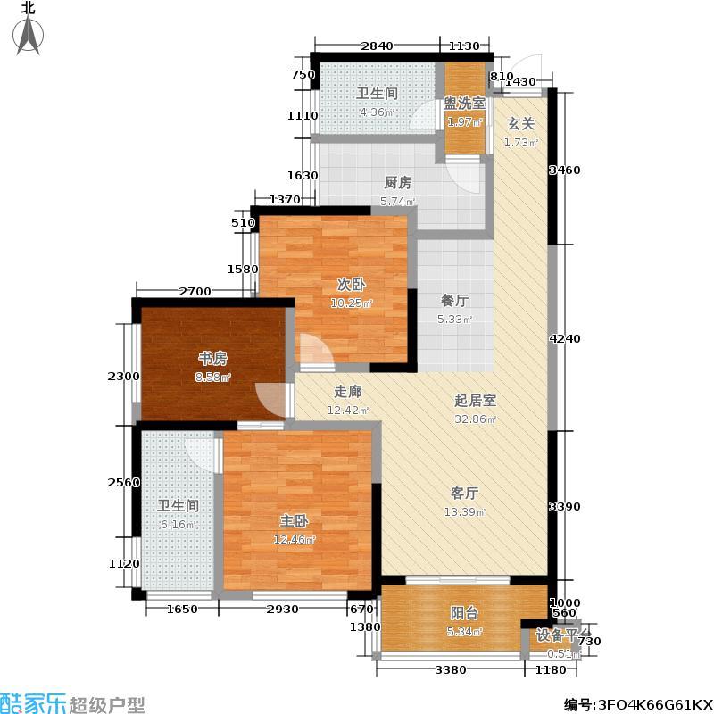双湾国际107.00㎡11#栋D户型三室两厅两卫户型3室2厅2卫