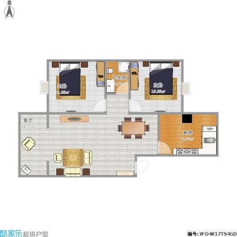 中华苑2室1厅1卫1厨88.00㎡户型图