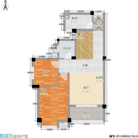 山水庭院2室0厅1卫1厨80.00㎡户型图