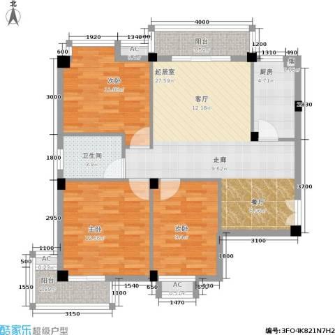 山水庭院3室0厅1卫1厨91.00㎡户型图