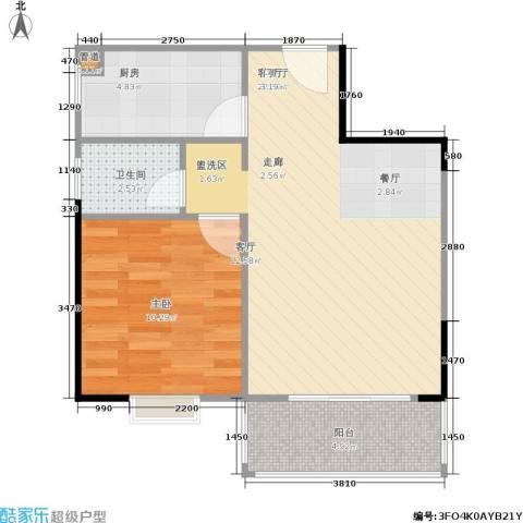 凯姆国际1室1厅1卫1厨60.00㎡户型图