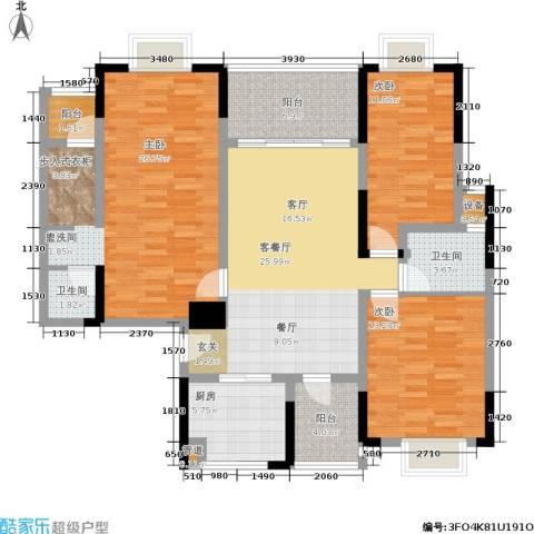 山水花都3室1厅2卫1厨148.00㎡户型图