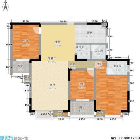 丽星景园3室1厅2卫0厨124.00㎡户型图