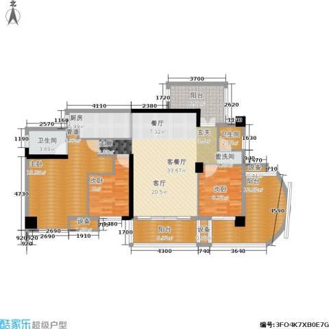 红区抽屉3室1厅2卫1厨129.00㎡户型图