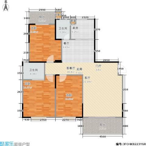 鑫天山城明珠3室1厅2卫1厨145.00㎡户型图