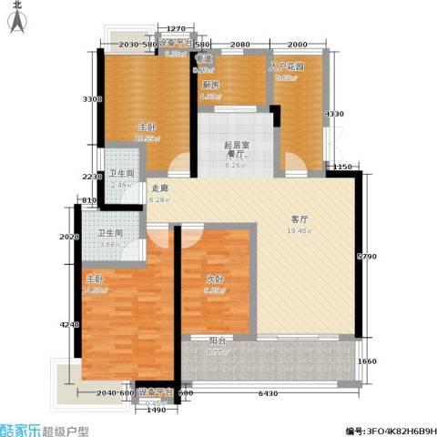 卧龙湾3室0厅2卫1厨122.00㎡户型图