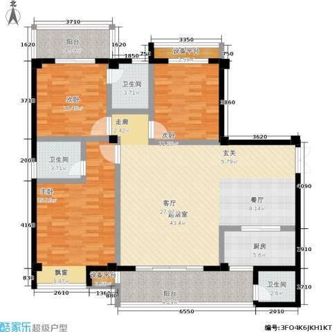 东兴豪园3室0厅3卫1厨170.00㎡户型图
