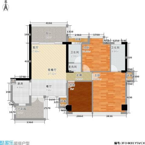 红区抽屉3室1厅2卫1厨122.00㎡户型图