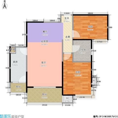 曲江城市花园2室0厅1卫1厨82.00㎡户型图