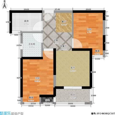 绿地世纪城2室1厅1卫1厨88.00㎡户型图