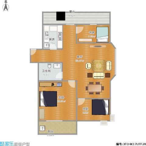 泉印兰亭3室1厅1卫1厨135.00㎡户型图