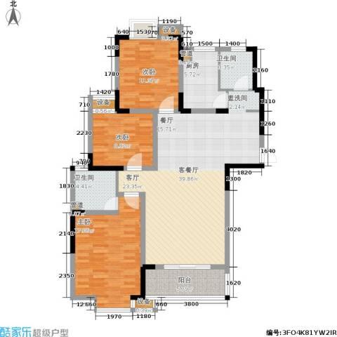 丽星景园3室1厅2卫1厨124.00㎡户型图