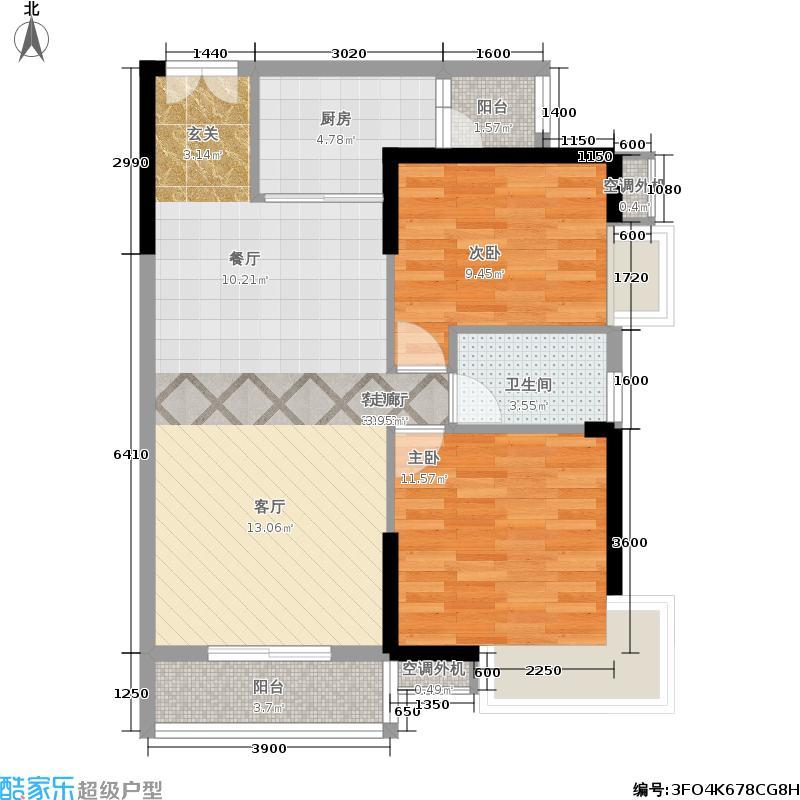 涉外国际公馆89.00㎡k2户型2室2厅1卫户型2室2厅1卫