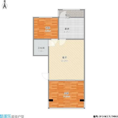 温馨家园2室1厅1卫1厨80.00㎡户型图