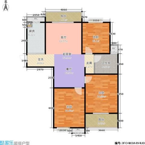 东方福郡3室0厅1卫1厨108.00㎡户型图