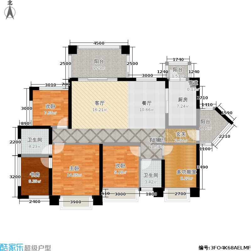 绿景公馆1866A座C+D户型4室1厅2卫1厨