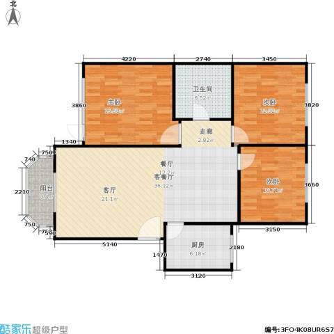 绿茵华庭3室1厅1卫1厨97.00㎡户型图